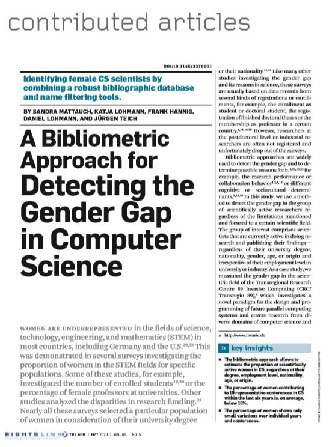 Detecting the Gender Gap in Computer Science — A Bibliometric Approach