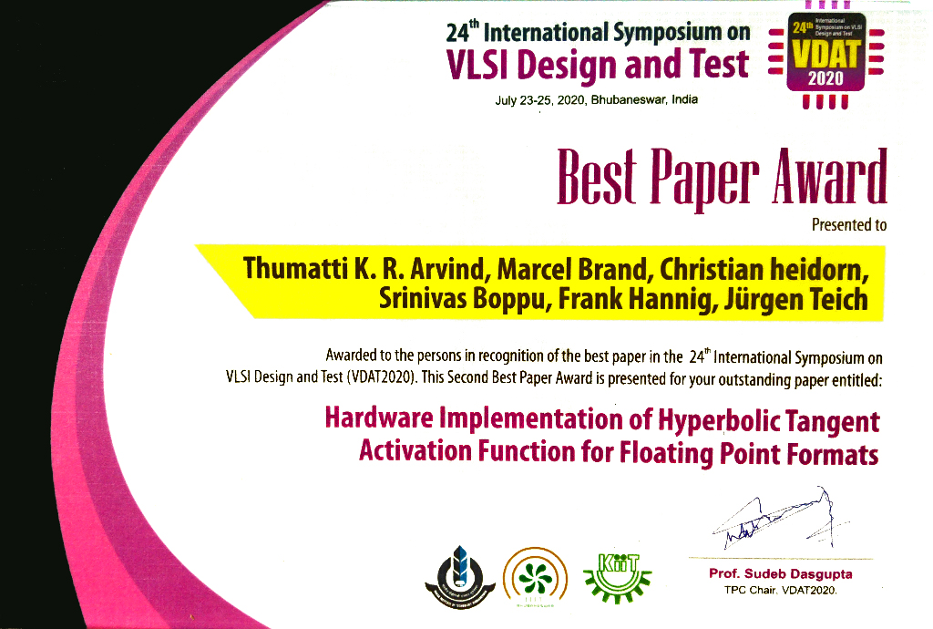 Best Paper Award at VDAT 2020